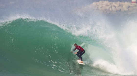 Combining two loves; getting barreled and doing well in competition. Portugal. Pic: ASP/Kirstin