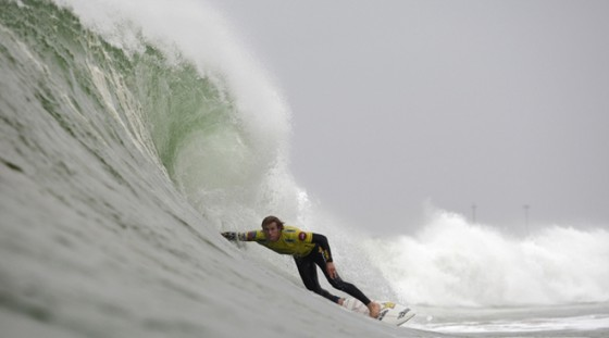 Bede finding his focus at The Rip Curl Pro Supertubos, Portugal. Pic: ASP/ Cestari