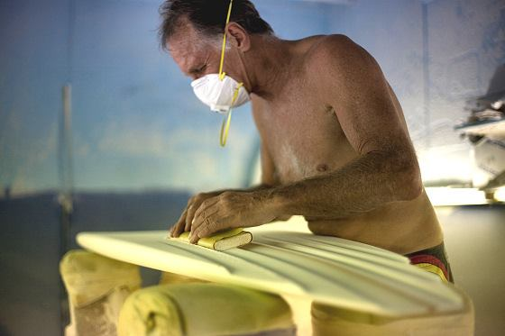 Allan Byrne  six-channel concave surfboard