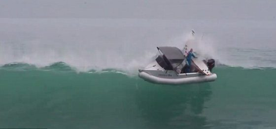 Surfers thrown from boat by large wave in NZ